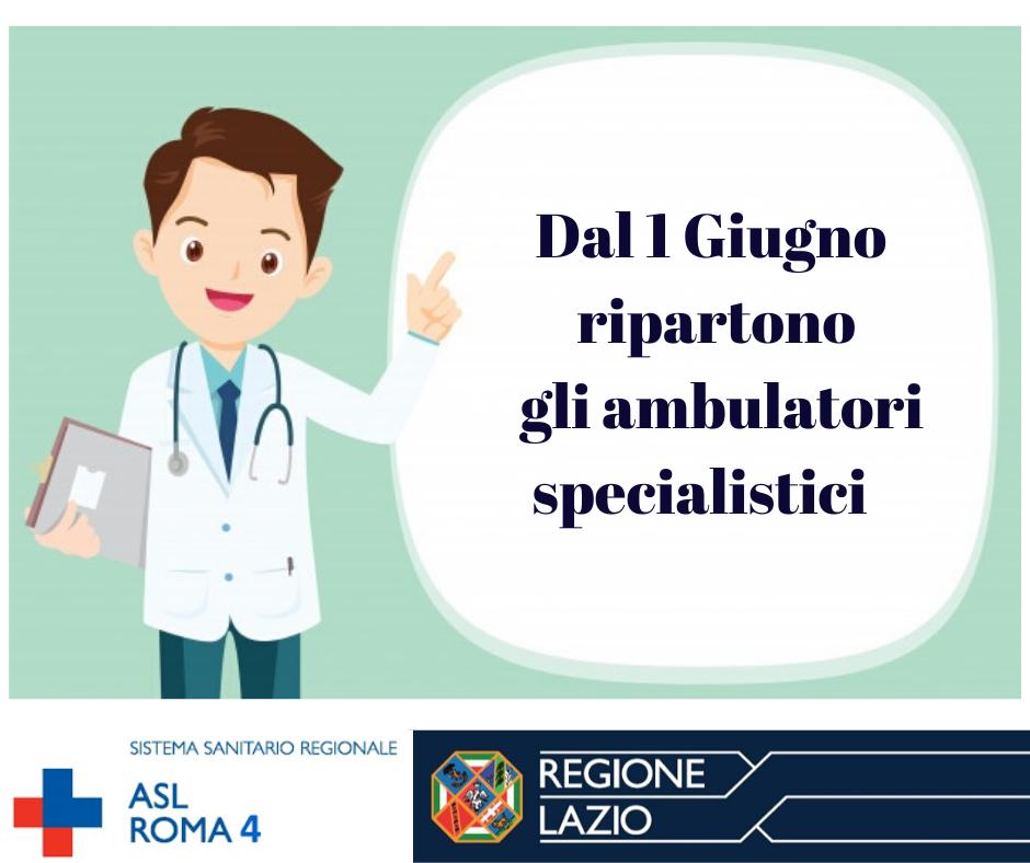ASL RM4, dal 1° giugno riprendono le attività di ambulatori specialistici