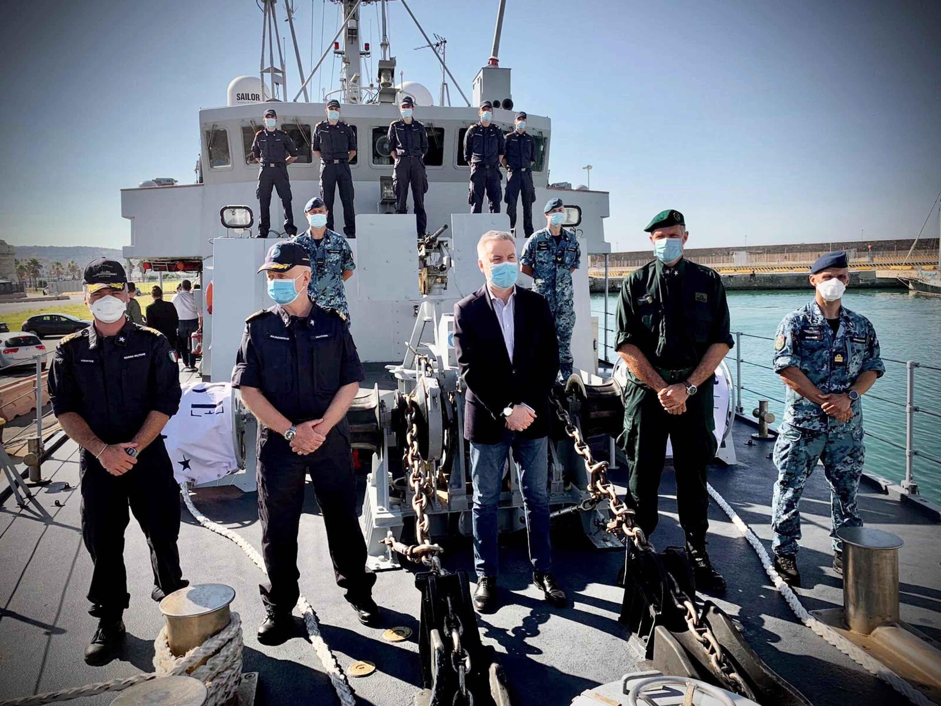 Il ministro  Guerini in visita al porto di Civitavecchia