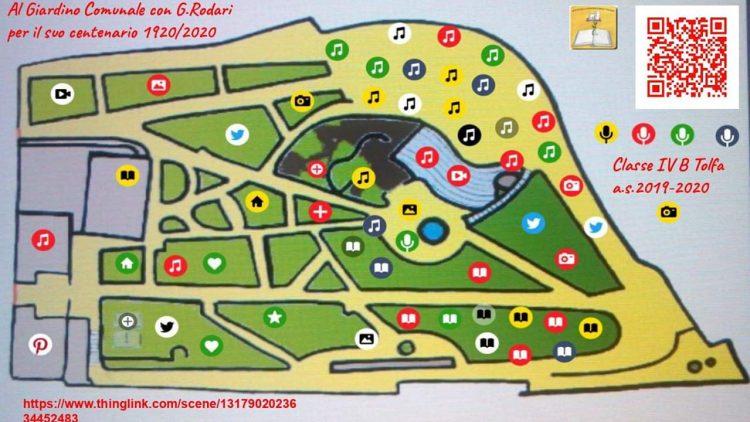 Un poster interattivo raffigurante la mappa del giardino comunale