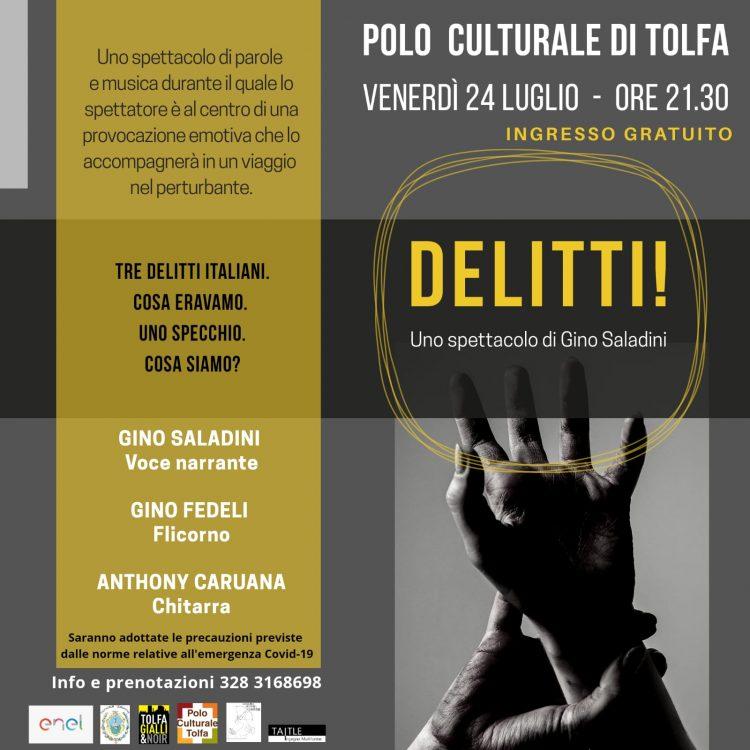 """Tolfa, Gino Saladini presenta """"Delitti"""""""