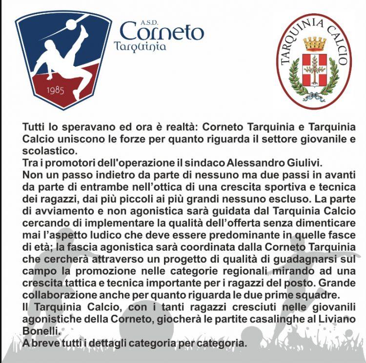 Corneto Tarquinia e Tarquinia Calcio uniscono le forze per il settore giovanile e scolastico