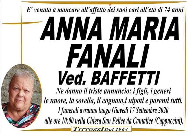 ANNA MARIA FANALI ved. BAFFETTI