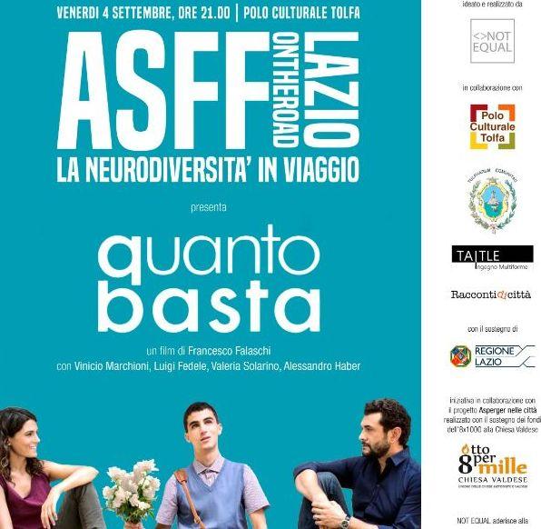 """L'Asperger Film Festival riparte da Tolfa:     oggi la proiezione del film """"Quanto basta"""""""