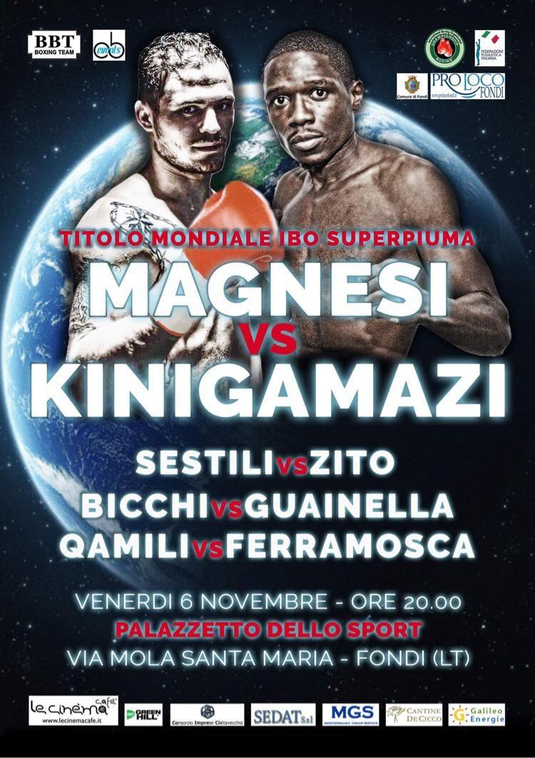 Mondiale IBO, Magnesi-Kinigamazi il 6 novembre a Fondi