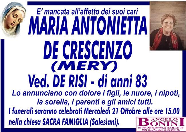 MARIA ANTONIETTA DE CRESCENZO (MERY) ved. DE RISI di anni 83
