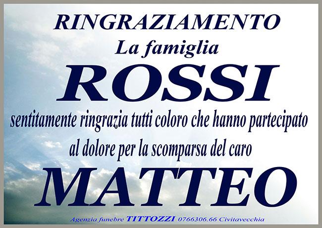 MATTEO ROSSI – Ringraziamento