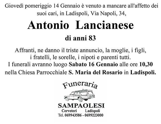 ANTONIO LANCIANESE di anni 83