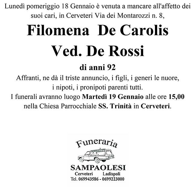 FILOMENA DE CAROLIS ved. DE ROSSI di anni 92