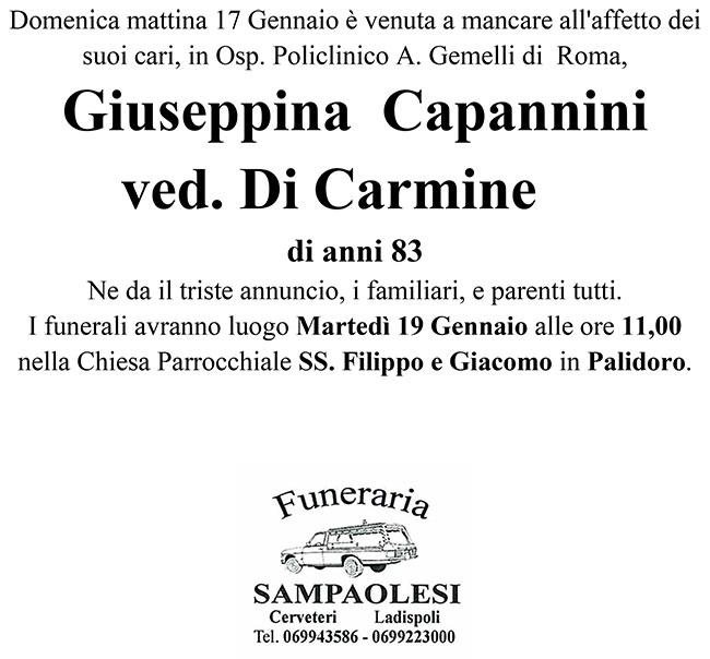 GIUSEPPINA CAPANNINI ved. DI CARMINE di anni 83