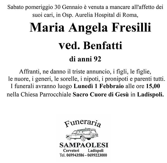 MARIA ANGELA FRESILLI ved. BENFATTI di anni 92