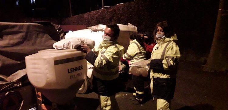 Allumiere, primi fiocchi di neve: protezione civile subito al lavoro