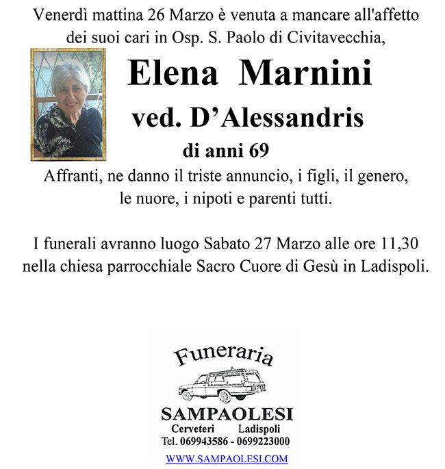 ELENA MARNINI ved. D'ALESSANDRIS di anni 69
