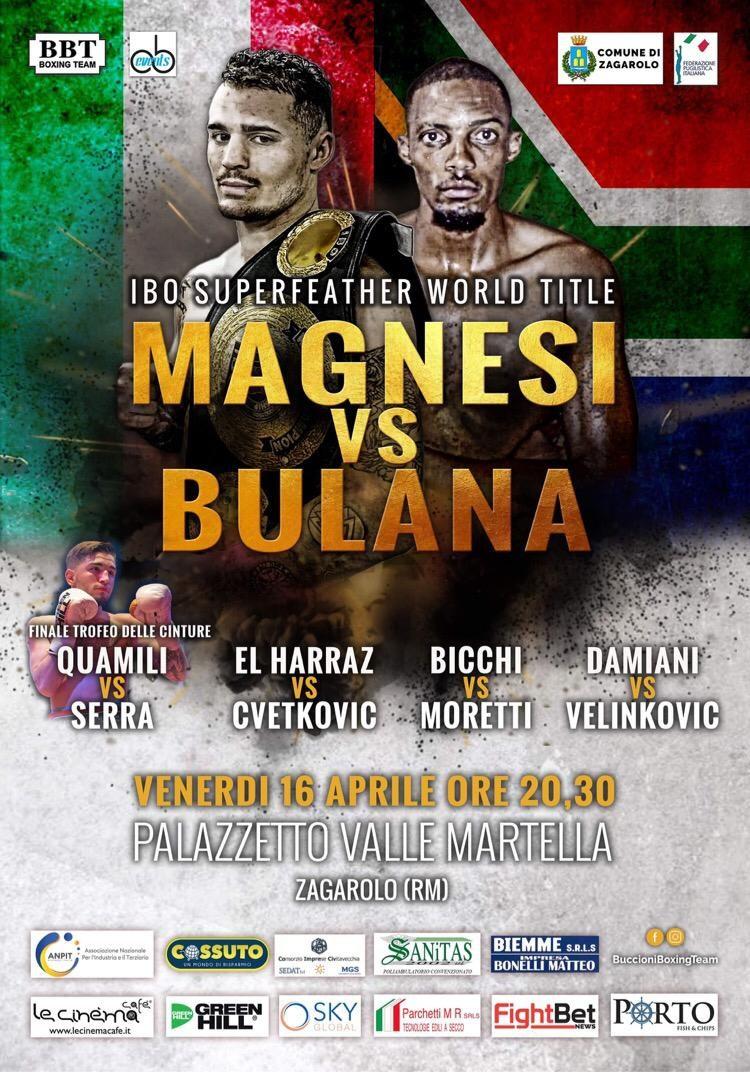 Michael Magnesi difenderà il titolo mondiale IBO il 16 aprile contro Khanyile Bulana