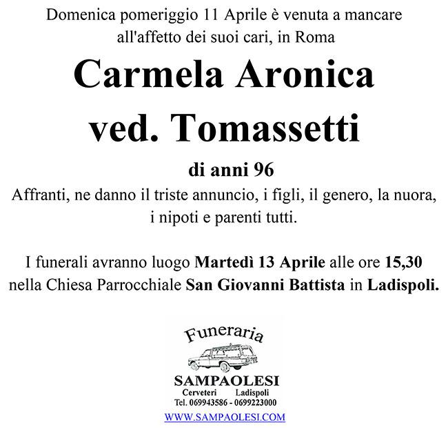 CARMELA ARONICA ved. TOMASSETTI di anni 96