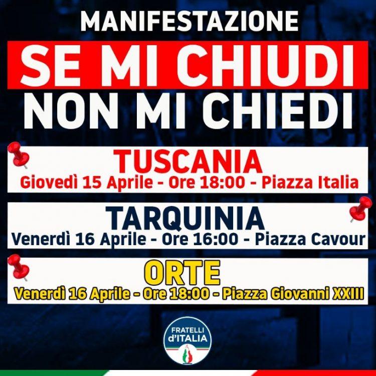 """""""Se mi chiudi non mi chiedi"""", a Tuscania, Orte e Tarquinia Fdi in piazza a sostegno degli imprenditori"""
