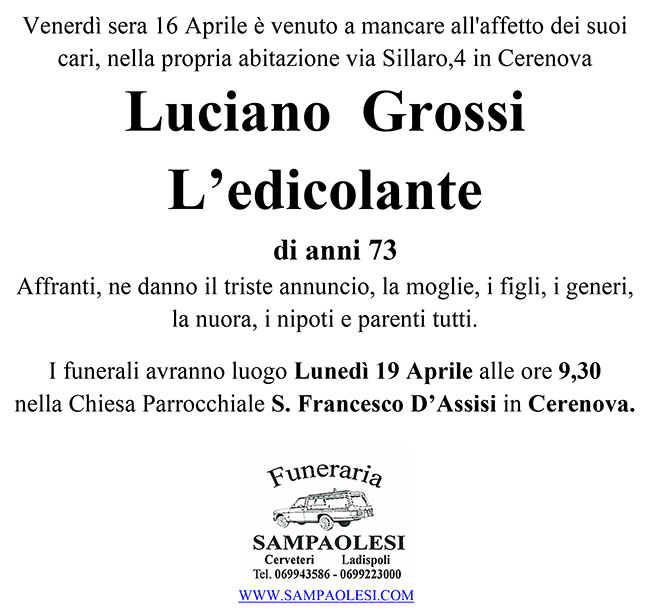 """LUCIANO GROSSI """"L'EDICOLANTE"""""""