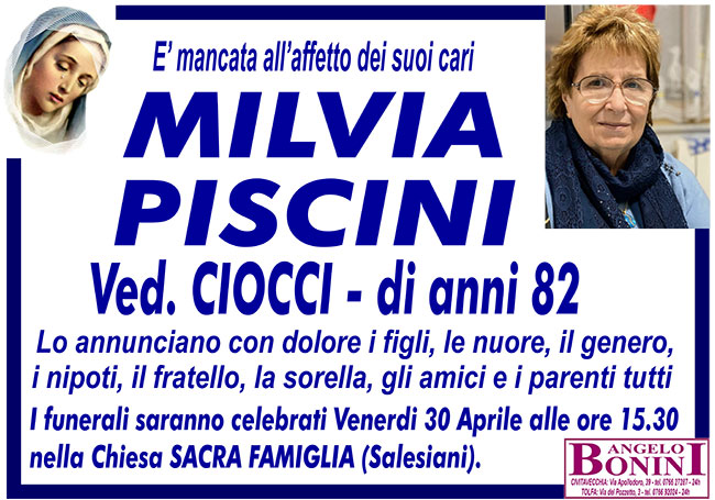 MILVIA PISCINI ved. CIOCCI di anni 82