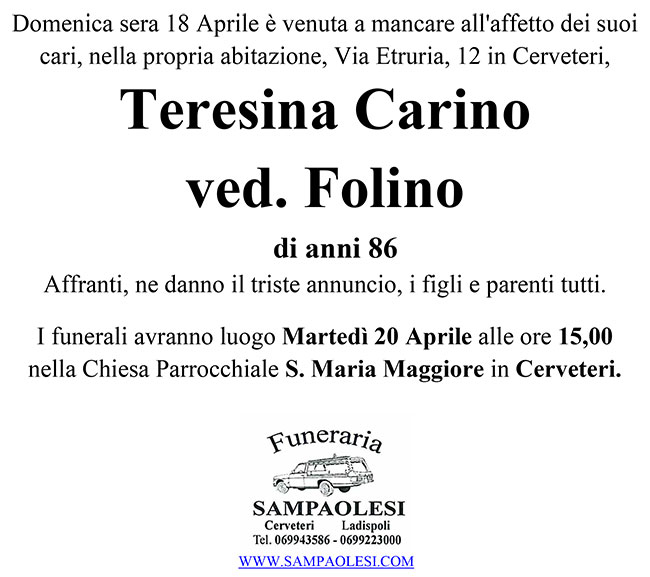 TERESINA CARINO ved. FOLINO di anni 86