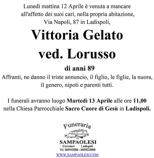 VITTORIA GELATO ved. LORUSSO di anni 89