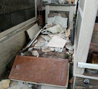 Tarquinia, danni al cimitero per il vento forte