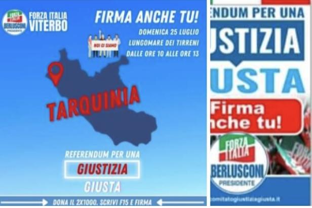 Raccolta firme per la riforma della giustizia, domenica gazebo di Forza Italia a Tarquinia Lido