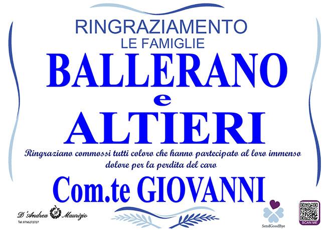 Com.te GIOVANNI BALLERANO – Ringraziamento