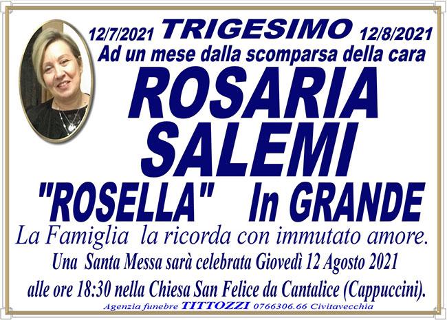 "ROSARIA SALEMI ""ROSELLA"" in GRANDE – Trigesimo"