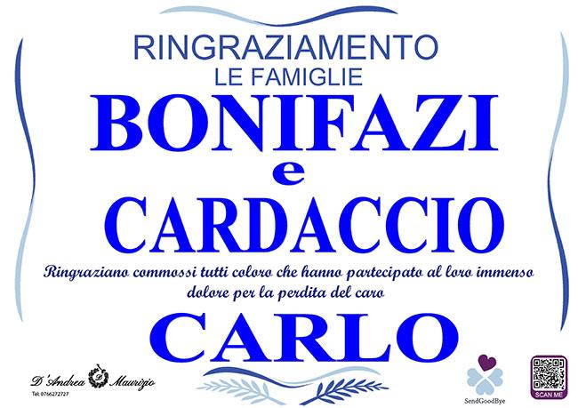 CARLO BONIFAZI – Ringraziamento