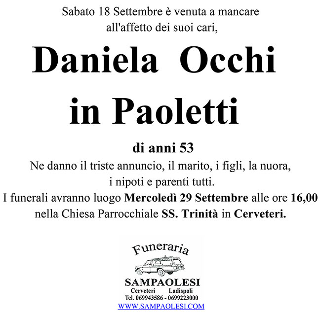 DANIELA OCCHI in PAOLETTI di anni 53