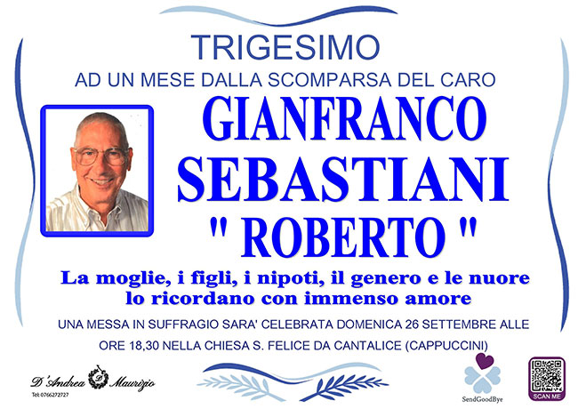 "GIANFRANCO SEBASTIANI ""ROBERTO"" – Trigesimo"