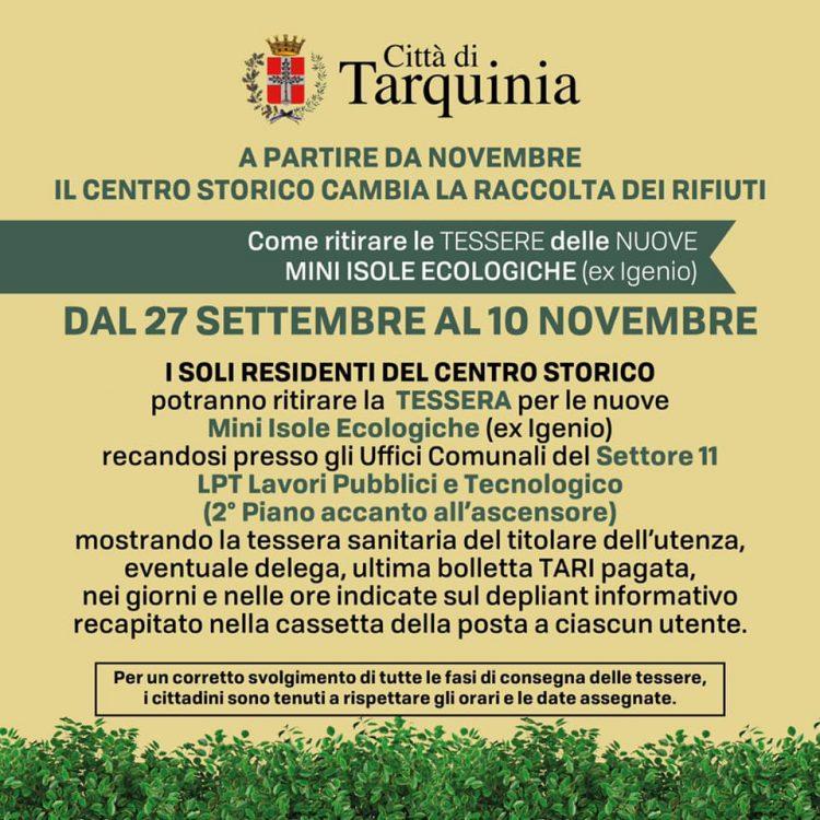Raccolta rifiuti,  da novembre cambiamenti nel centro storico di Tarquinia