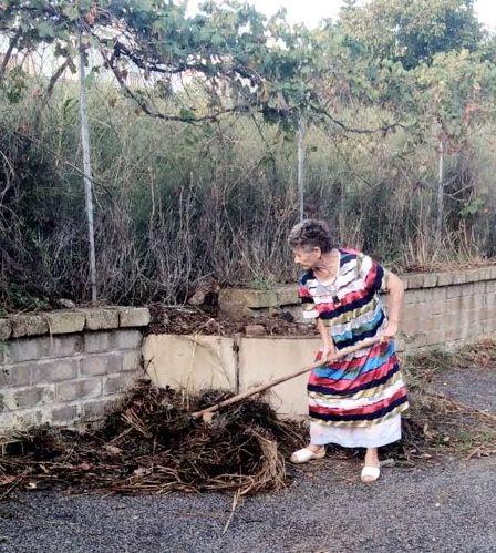 Città sporca: anziana costretta  a raccogliere i rifiuti da sola