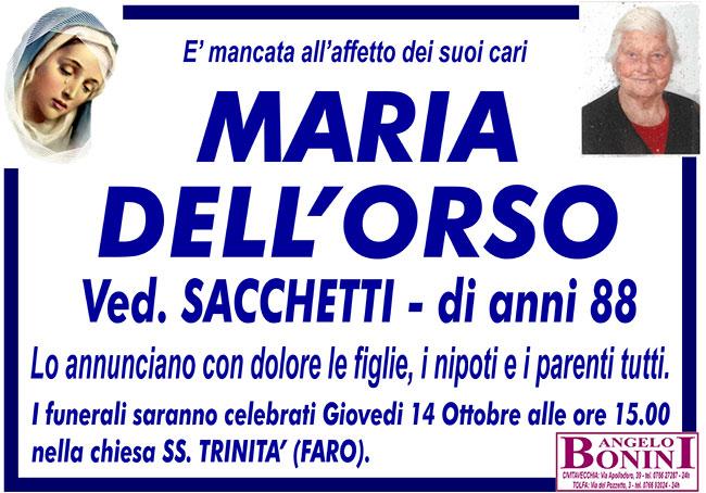 MARIA DELL'ORSO ved. SACCHETTI di anni 88