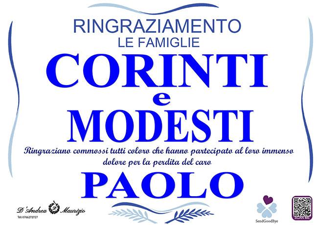 PAOLO CORINTI – Ringraziamento
