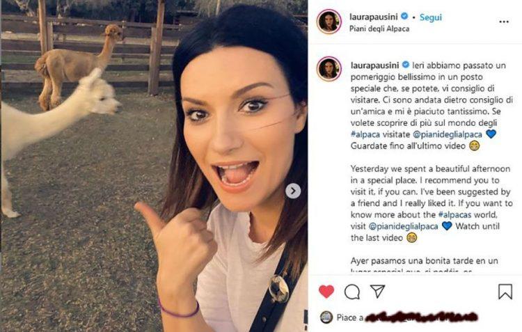 Laura Pausini incantata ai Piani degli Alpaca a Tarquinia