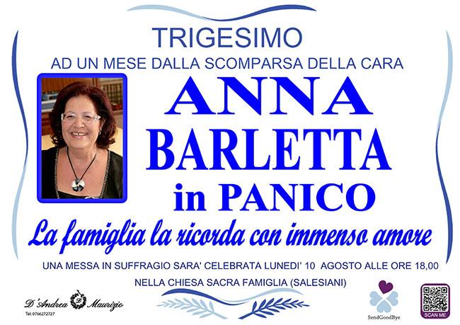 ANNA BARLETTA in PANICO – Trigesimo